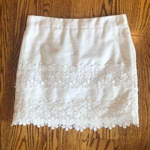 J Crew white skirt with lace trim